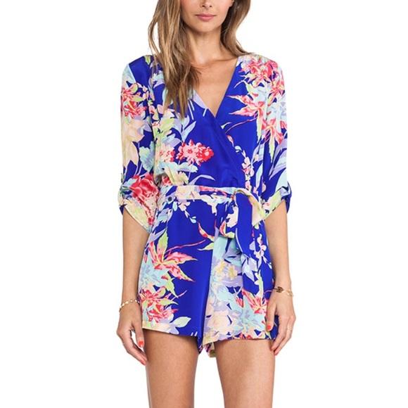 024d0ca8a1f Yumi Kim silk Liz Romper in Blue Zean floral. M 5a4a830784b5ce44a204d622